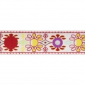 Graphic ribbon vintage flower 37 mm White/Red x1m