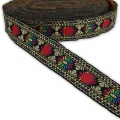 Graphic ribbon vintage flower 38 mm Black/Multicolored/Gold Tone x1m