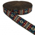 Graphic ribbon geometric 33 mm Black/Blue/Red/Gold Tone x1m
