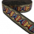 Graphic ribbon spiral 50 mm Black/Multicolored/Gold Tonex1m