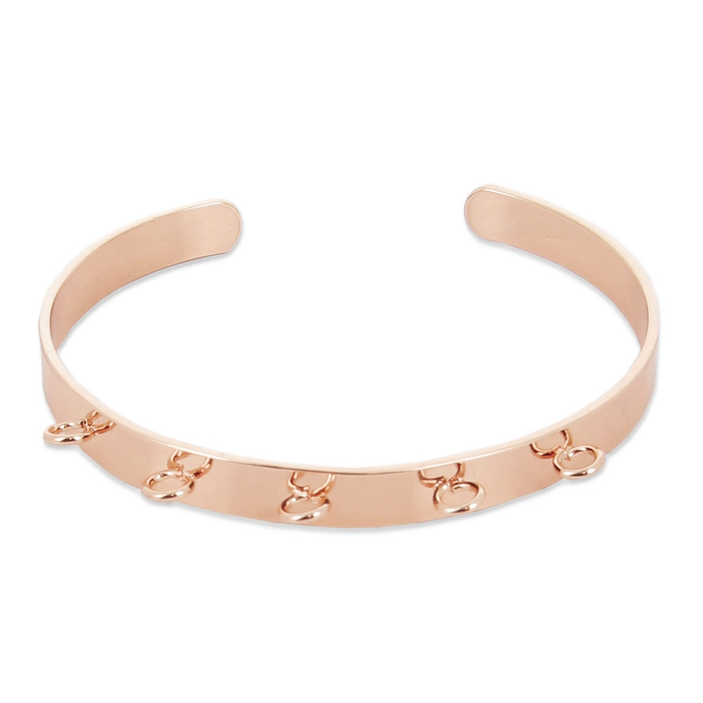 brass cuff bracelet with 5 loops to customize 6 2x160 mm rose gold