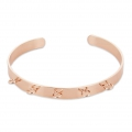 Brass cuff bracelet with 5 loops to customize 6,2x160 mm Rose Gold Tone x1