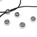 Metal stopper bead 5.9 mm with 2 mm hole antique silver tone x1