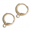 Round leverback earrings 14.50 mm matt golden tone x2