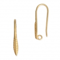 Earwires with a feathers decor 22.50 mm Gold Tone x2