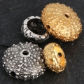 Metal sea urchin bead 16x7 mm for jewelry creation - Gold Tone x1