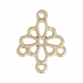 Spacer flower 3 loops 20 mm mat gold tone x1