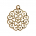 Light rose pendant 18x15 mm Gold Tone x1