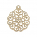 Light rose pendant 18x15 mm Matt Gold Tone  x1