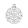 Light rose pendant 18x15 mm Silver Tone x1