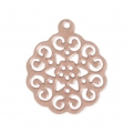 Light rose pendant 18x15 mm Matt Rose Gold Tone x1