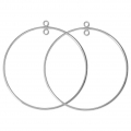 925 Sterling Silver Earring hoops / spacer - Made in Europe - 45 mm x2