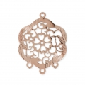 Spacer Flower Pattern 3 loops 25 mm Rose - Gold Tone x1