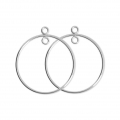 925 Sterling Silver Earring hoops / spacer - Made in Europe - 25 mm x2