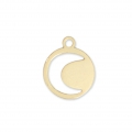Brass moon charm 9.5 mm Gold Tone  x1