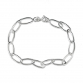 925 Sterling Silver oval links bracelet - Made in Europe - 180 mm x1