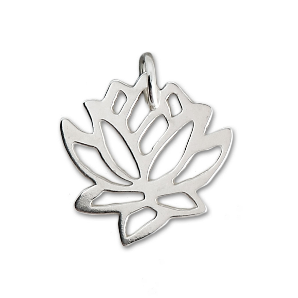 925 Sterling Silver Lotus Flower Charm Made In Europe 132 Mm X1