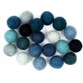 Assortment of woolfelt balls 15 mm Blue Mix x20