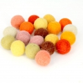 Assortment of woolfelt balls 15 mm Yellow Mix x20