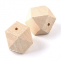 Big natural wooden faceted cylindrical beads 30 mm x10