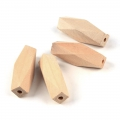 Natural wooden faceted cylindrical beads 40x12 mm x10