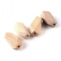 Big natural wooden faceted cylindrical beads 40x17 mm x10