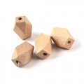 Natural wooden faceted cylindrical beads 16x10 mm x10