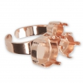 Ring for Swarovski cabochons 1028/1088 6-8 mm  and 1122 12 mm - Rose Gold Tone x1