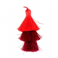 Large triple tassel 7 cm for jewelry DIY creations Multi Red x1