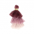 Small triple tassel imitation cotton 3 cm Multi Antique Pink x1