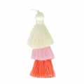 Large triple tassel imitation silk 7 cm Multi Pastel x1