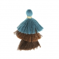 Small triple tassel imitation cotton 3 cm Pigeon Blue/Golden Brown/Brown x1