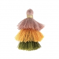 Small triple tassel imitation cotton 3 cm Taupe/Kaki/Mustard x1