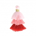 Small triple tassel imitation cotton 3 cm Multi Pink x1