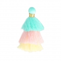 Small triple tassel imitation cotton 3 cm Blue/Pink/Pastel Yellow x1