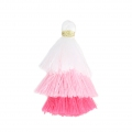 Small triple tassel imitation cotton 3 cm White/Multi Pink x1