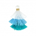Small triple tassel imitation cotton 3 cm White/Multi Blue x1