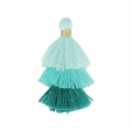 Small triple tassel imitation cotton 3 cm Multi Turquoise x1