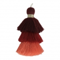 Large triple tassel imitation cotton 7 cm Multi Red x1