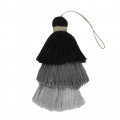 Large triple tassel imitation cotton 7 cm Multi Grey x1