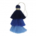 Large triple tassel imitation cotton 7 cm Multi Blue x1