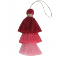 Large triple tassel imitation cotton 7 cm Multi Pink x1