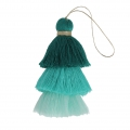 Large triple tassel imitation cotton 7 cm Multi Turquoise x1