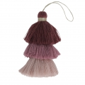 Large triple tassel imitation cotton 7 cm Multi Violet x1