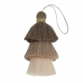 Large triple tassel imitation cotton  7 cm Cream/Multi Brown x1