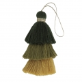 Large triple tassel imitation cotton 7 cm Mustard/Multi Green x1