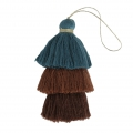 Large triple tassel imitation cotton 7 cm Pigeon Blue/Multi Brown x1