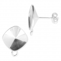 925 Sterling Silver Earstuds for Swarovski 4470 12 mm cabochon x2