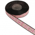 Embroidered ribbon diamond pattern 18 mm Pink/Gold Tone x50cm