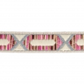 Embroidered ribbon hexagonal pattern 20 mm Beige/Pink/Silver Tone x50cm